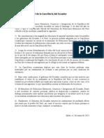 Comunicado de la Cancillería ecuatoriana sobre la decisión de no retirar al embajador Rodrigo Riofrío