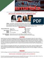FBI Most Wanted Poster for Joanne Deborah Chesimard
