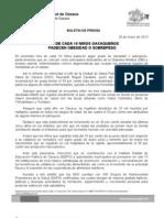 29/01/13 Germán Tenorio Vasconcelos TRES DE CADA 10 NIÑOS OAXAQUEÑOS PADECEN SOBREPESO U OBESIDAD