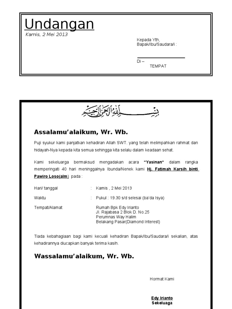 Surat Undangan Tahlil 40 Haridoc
