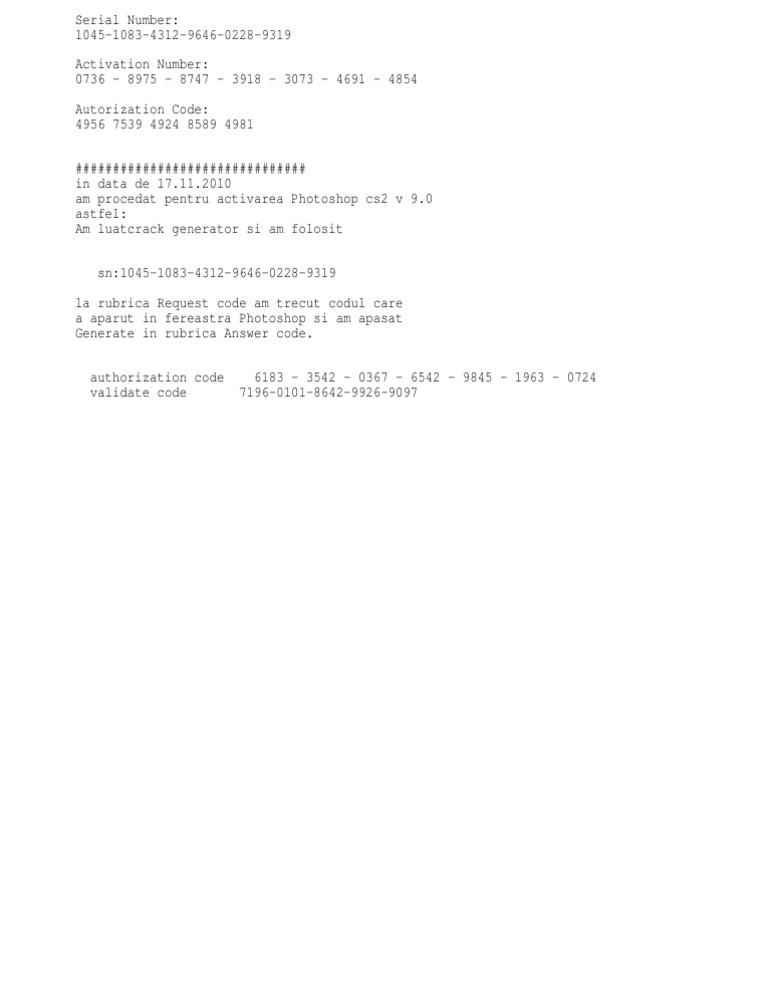 Photoshop Cs2 Authorization Code Keygen 11