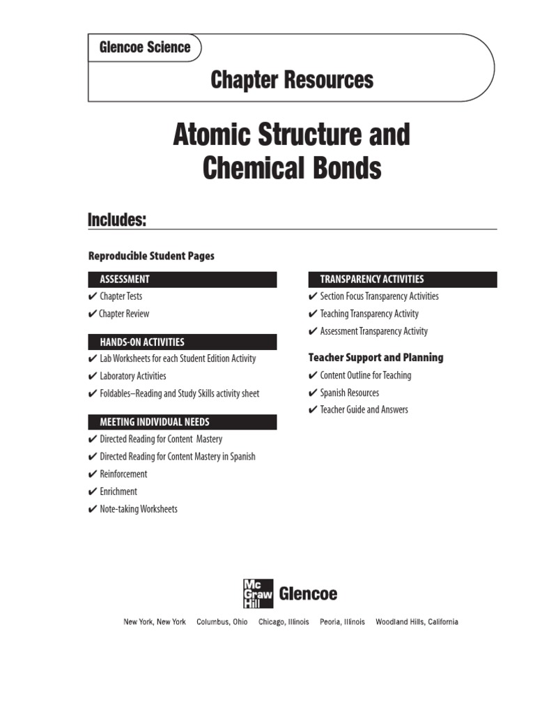 worksheet Glencoe Physical Science Worksheets atomic structure chemical bonds bond molecules
