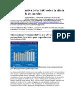 Nota Informativa de La FAO Sobre La Oferta y La Demanda de Cereales