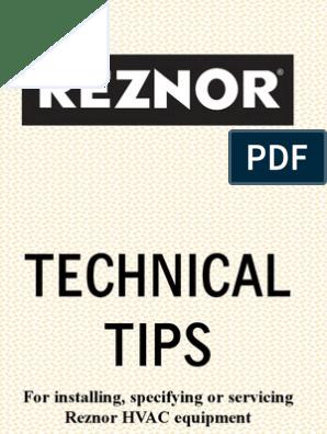 Reznor Handbook   Furnace   Hvac on