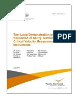Slurry Transfer Line Critical Velocity Measurement Instruments