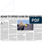 Adani to Spend A$4 Billoion buying Australian Coal mining Assets, The Business Standared, September 30, 2010