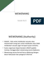 Kuliah 9 Wewenang, Delegasi Wewenang dan Desentralisasi.ppt
