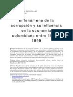 El Fenomeno de La Corrupcion y Su Influencia en La Economina Colombiana Entre 1960 y 1999
