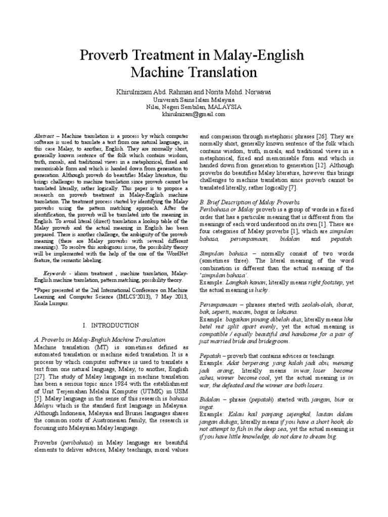 Proverb Treatment In Malay English Machine Translation Idiom Translations