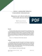 Humanismo y Autenticidad Cultural en El Pensamiento Latinoamericano