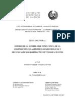 Estudio de La Sensibilidad e Influencia de La Composicion en Las Propiedades Reologicas y Mecanicas de Los Hormigones Autocompactante. Jonhson Rigueira Victor