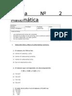 Prueba Nº 2 Matemática - 4º lista