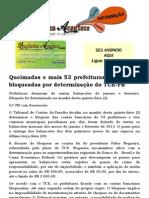 Queimadas e mais 53 prefeituras tem contas bloqueadas por determinação do TCE-PB