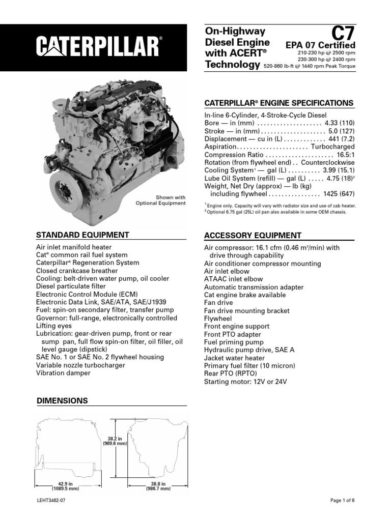 caterpillar c7 engine specs diesel engine horsepower rh scribd com caterpillar c7 engine wiring diagram cat c7 acert engine diagram