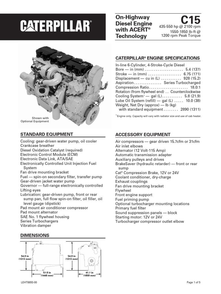 Caterpillar C15 Engine Specs | Transmission (Mechanics