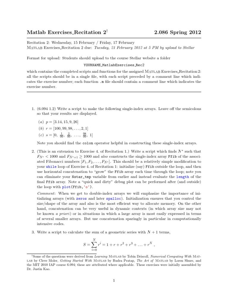 MIT2_086S12_matlab_ex2 pdf | Matlab | Array Data Structure