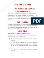 Arancel Del Archivo Gral de Protocolos ACUERSO 12-2002