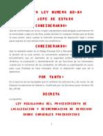 Ley Reguladora Del Procedimiento de Desmembracion DECRETO 82-84