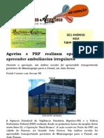 Agevisa e PRF realizam operação para apreender ambulâncias irregulares