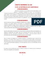 Ley Del Impuesto Sobre La Distribucion de Bebidas AlcoholicAS DECRETO 21-04