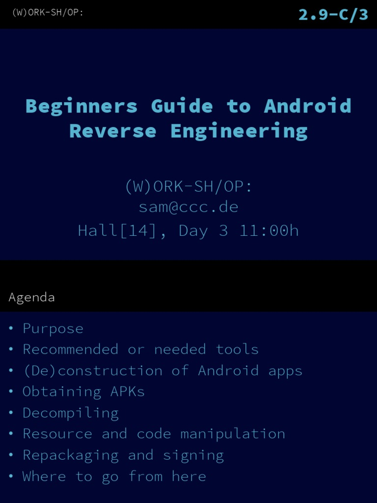20121229 Beginners Guide to Android Reverse Engineering