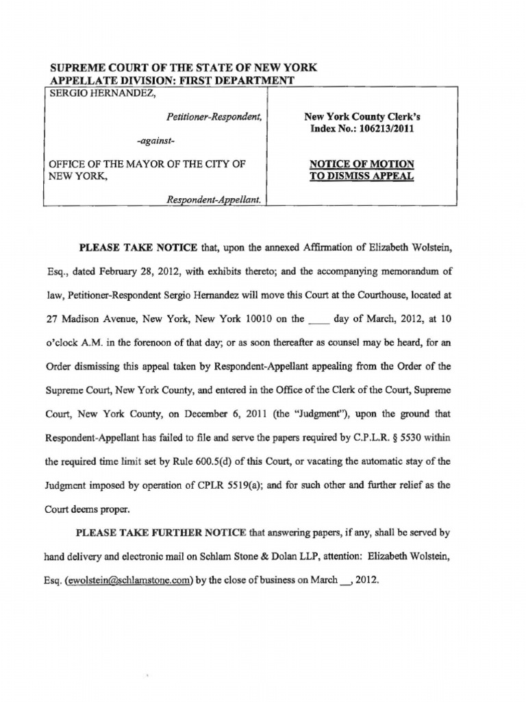 Notice Of Motion To Dismiss Appeal Hernandez Privacy New York