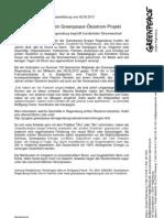Presseerklärung vom 02.05.2013  Volle Hundert beim Greenpeace-Ökostrom-Projekt