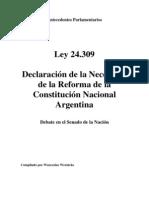 Ley 24309. Debate en Senado. Reforma Constitucional. Argentina
