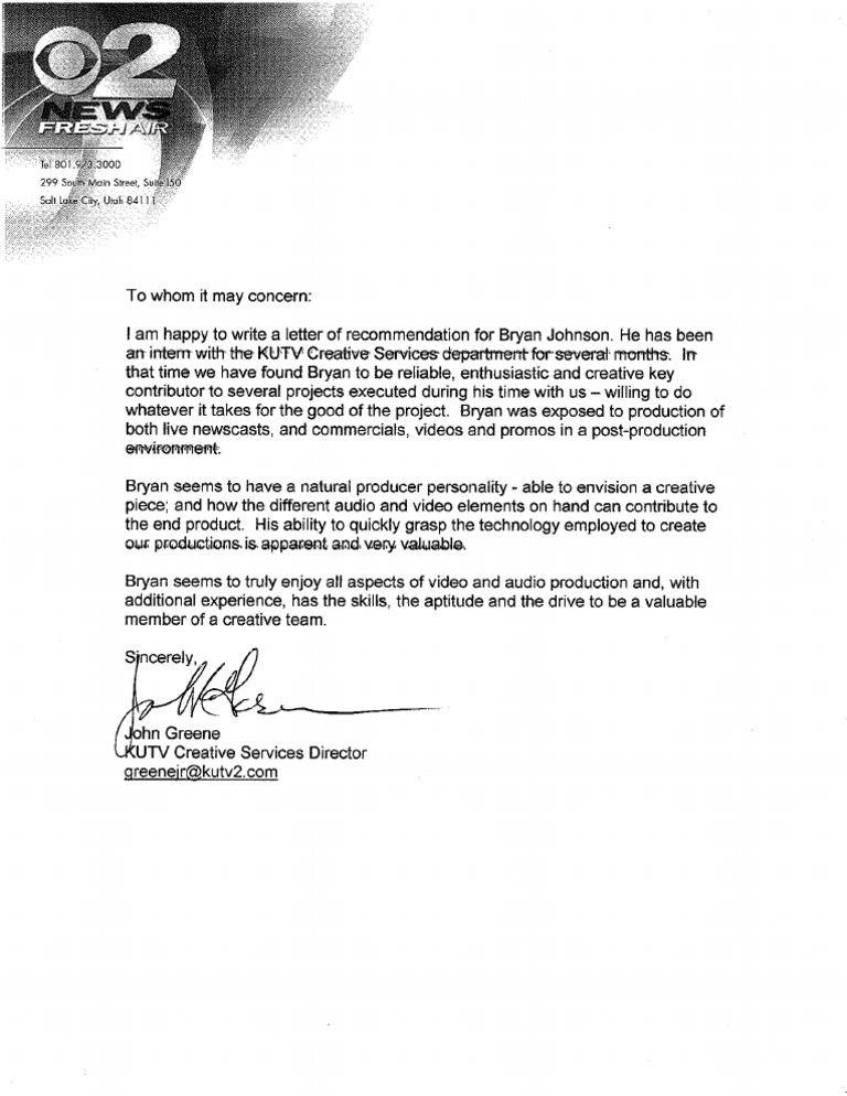letter of recommendation from internship