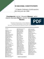 Reforma Constitucional de 1994. Argentina. Debate del 9 de junio de 1994