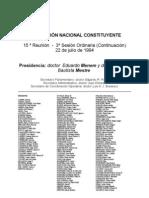 Reforma Constitucional de 1994. Argentina. Debate del 22 de julio de 1994