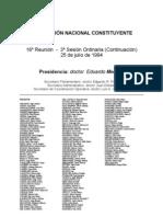 Reforma Constitucional de 1994. Argentina. Debate del 25 de julio de 1994