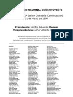 Reforma Constitucional de 1994. Argentina. Debate del 31 de mayo de 1994