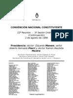 Reforma Constitucional de 1994. Argentina. Debate del 2 de agosto de 1994
