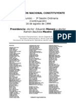 Reforma Constitucional de 1994. Argentina. Debate del 16 de agosto de 1994