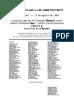 Reforma Constitucional de 1994. Argentina. Debate del 18 de agosto de 1994