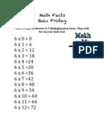 Math Facts Mult 6