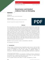 Corporate Governance and Analyst Behavior