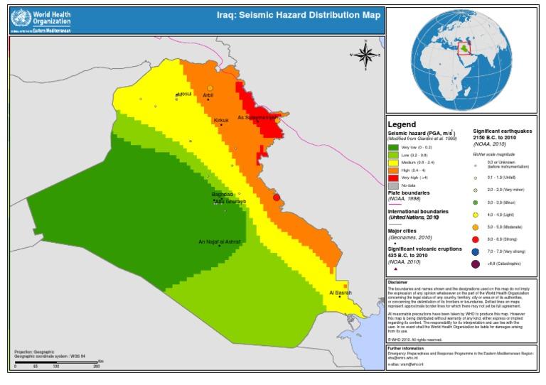 iraq seismic hazard distribution map