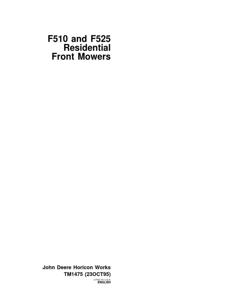 9108474-John Deere F510 F525 Residential Front Mower Service Repair  Workshop Manual Download (1) | Transmission (Mechanics) | Tire