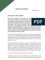 COMUNICADO DE IMPRENSA | NOVO RENAULT FLUENCE