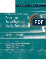SEC Government-- Business Forumm Onn Smalll Businesss Capitall Formationn FINAL REPORT