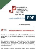 CLASE 10 - RESURGIMIENTO DE LA TEORIA NEOCLASICA- TIPOS DE ORGANIZACIÓN