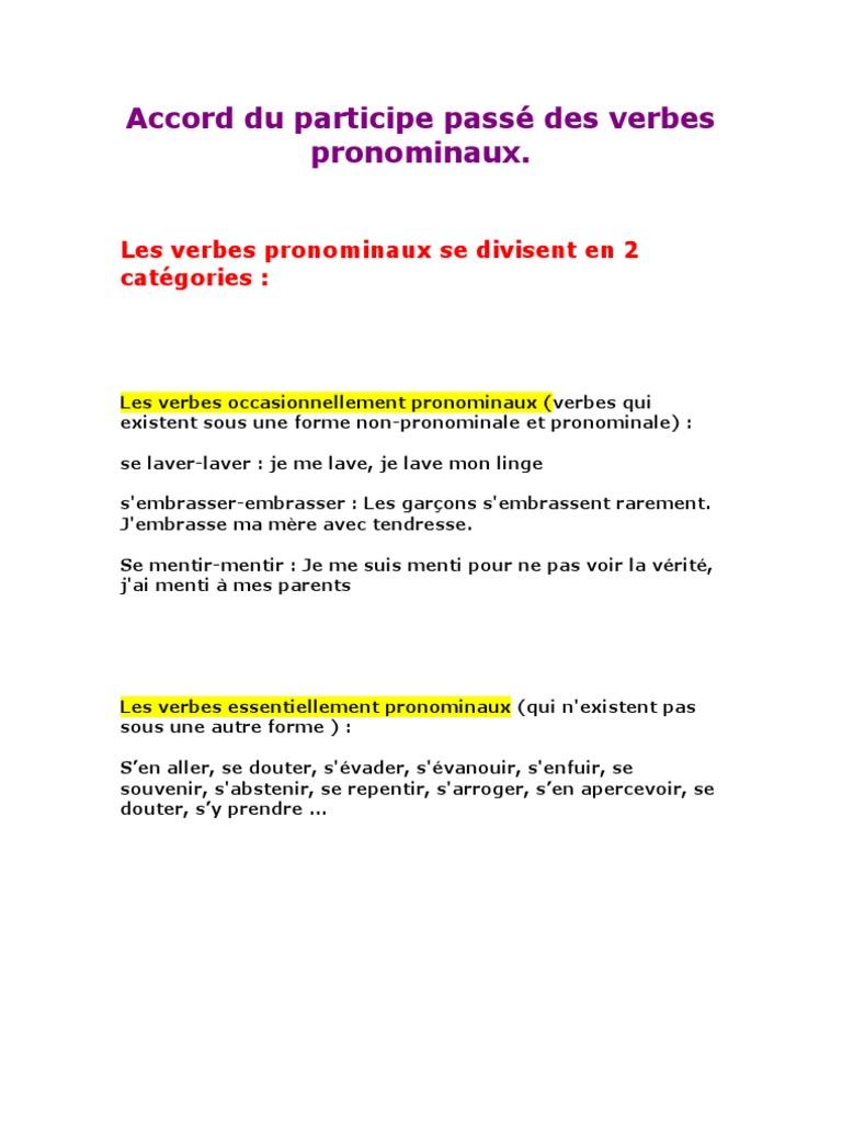 Accord Du Participe Passe Des Verbes Pronominaux ...