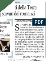 I dannati della terra salvati dai romanzi, di Luis Sepúlveda - La Repubblica 04.05.2013