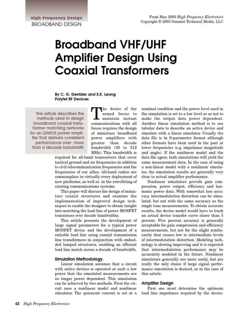 Broadband VHF/UHF Amplifier Design Using Coaxial Transformers