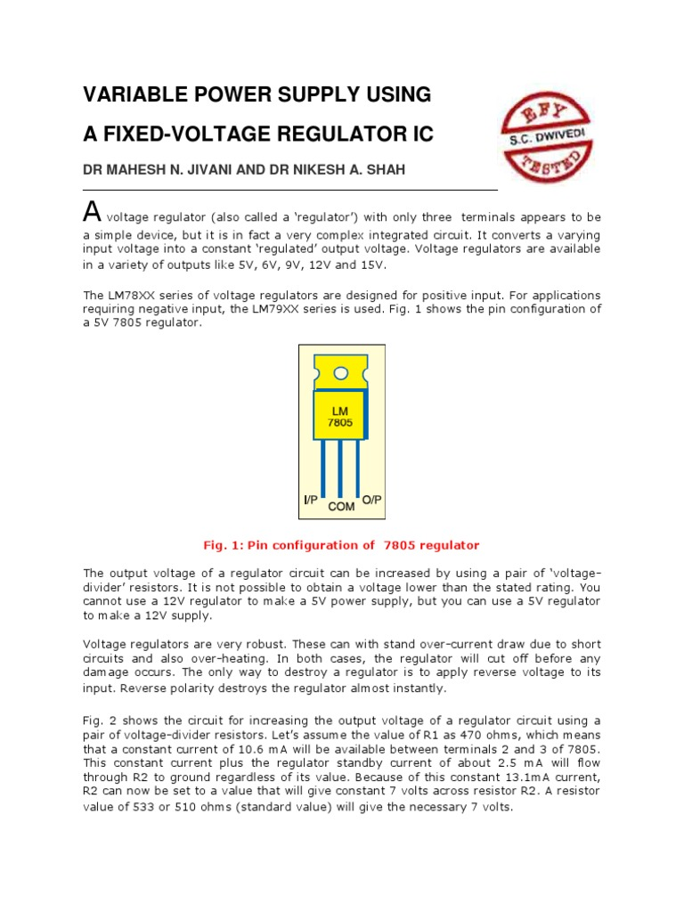 Variable Power Supply Using | Power Supply | Resistor