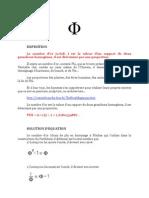Mathématiques Nombre d'Or Φ (PHI ) 1,6180339887... avec Formules Mathématiques