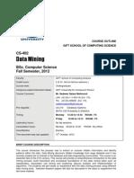 [CS 402] Outline DataMining Fall2012
