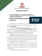 Declaração de Voto Contas da CMC e Contas Consolidadas 2012 da CMC